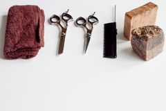 White desktop with tools for shaving beards Royalty Free Stock Photography