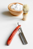 White desktop with tools for shaving beards. Close up stock image