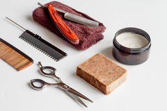 White desktop with tools for shaving beards Stock Image