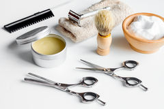 White desktop with tools for shaving beards Royalty Free Stock Image