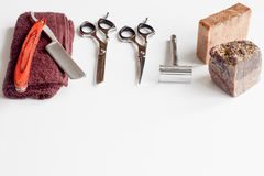 White desktop with tools for shaving beards Royalty Free Stock Photos