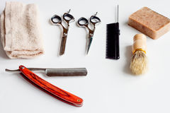 White desktop with tools for shaving beards Stock Images