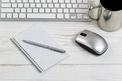 White desktop with daily work objects Royalty Free Stock Photo