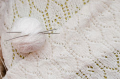 White detail of woven handicraft knitting shawl Royalty Free Stock Photography