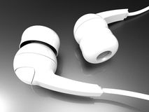 White detailed headphones. 3D render illustration a a pair of white detailed headphones. The ear buds are positioned on a dark reflective background royalty free illustration