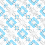 White detailed ornament layered on flat blue seamless Stock Images