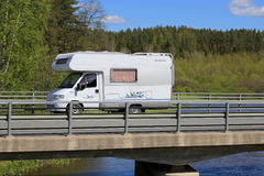 White Dethleffs Motorhome on the Road Stock Image