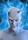 White devil. 3D render of grinning white devil and blue hellfire Stock Image