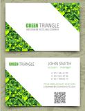 Green triangles modern business card design template. White diagonal space on pattern background. Volume 3d geometric texture Royalty Free Stock Photography