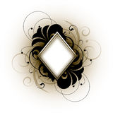 White diamond retro. White diamond shape in the middle, over a black and brown abstract retro design, on an off-white background Royalty Free Stock Photo
