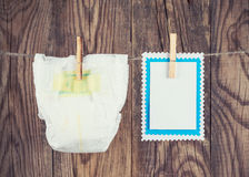 White diaper and blank Royalty Free Stock Photos