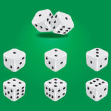 White dice. Six white dice. Showing all sides vector illustration