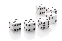 White dice. Six white dice isolated on a white background Royalty Free Stock Images