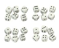 White dice. White gambling dice sets arranged, top view, v3 Royalty Free Stock Photos
