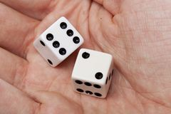 White dice with black dots Royalty Free Stock Photos