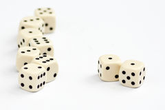 White dice frame. Edge with focus on double one or snake eyes Stock Images