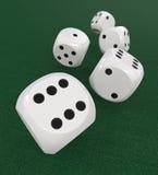 White dice on green Stock Photo