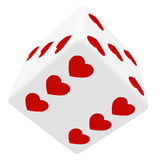 White dice in hearts Royalty Free Stock Image