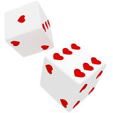 White dice in hearts Stock Photos