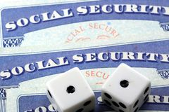 White Dice Laying on Social Security Card Royalty Free Stock Images
