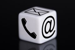 White dice with mail and phone icons Stock Images
