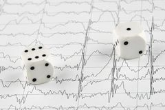 White dice on MRI cardiogram. Macro photo stock photo