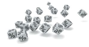 White dice percent Royalty Free Stock Photos