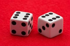 White Dice on Red Felt Royalty Free Stock Images