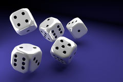 White dice set on violet background Royalty Free Stock Image