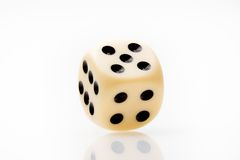 White dice on white table Stock Photos
