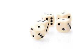 White dice on white table with space for text Stock Photography