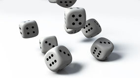 White Dices. 3d render of several dices in white color Stock Image