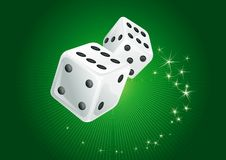 White dices. Green Vector  background of two white casino dices and  stars. There are no meshes in this image Royalty Free Stock Photos