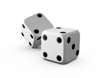 White Dices. With black dots on white isolated background Royalty Free Stock Photos