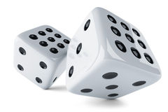 White dices. Gaming dices  on white background 3d Royalty Free Stock Photography