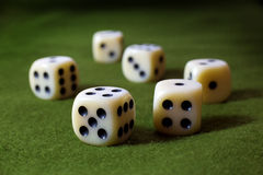 White Dices on Green Surface Stock Image
