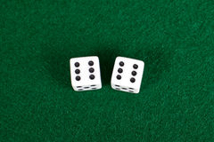 White dices on green table. Royalty Free Stock Photo