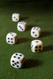 White Dices on Green Table Stock Photography