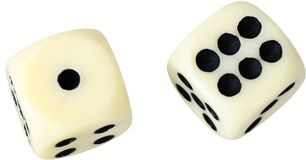 White dices in midair on white background close up. White dices midair game leisure activity play Royalty Free Stock Images