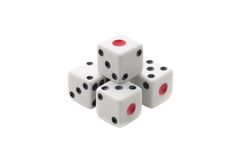 White dices pyramid. Isolated over white background Royalty Free Stock Photo