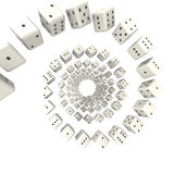 White dices twisted around Royalty Free Stock Image