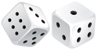 White dices. Two white dices with black dots Stock Photography