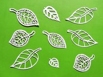 Leafs cut from white paper royalty free stock photography