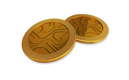White digital gold coins Royalty Free Stock Images