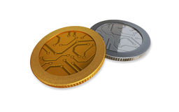 White digital gold and silver coins Royalty Free Stock Images