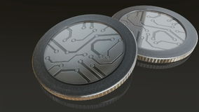 White digital gold silver max coins. The digital currency coin of peer-to-peer for capital transaction stock video