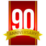White digits 90 on red background. Ninety years sign. White digits 90 on red background. With yellow ribbon and word `Anniversary`. Vector label for celebration Royalty Free Stock Photos