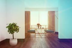 White dining room interior, blue chairs toned Royalty Free Stock Photography