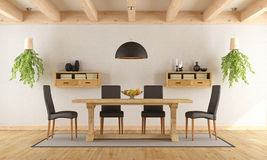 White dining room with rustic table Stock Image