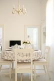 White Dining Room Table Stock Photo
